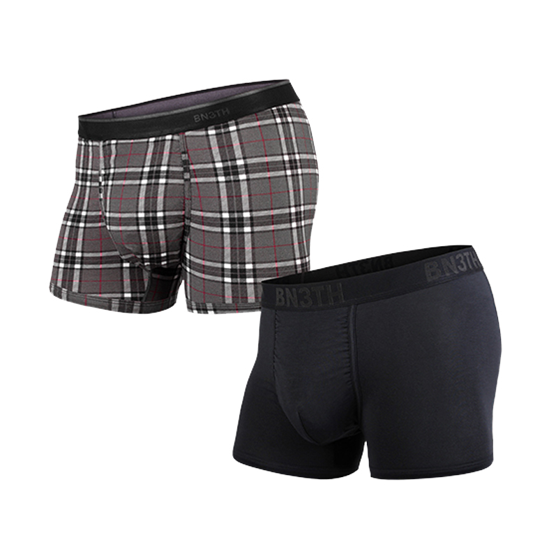 マイパッケージ|WEEKDAY TRUNKS SOLID × PRINT 2PACK S(28インチ~30インチ) BLACK×1 FIRESIDE-PLAID GREY×1